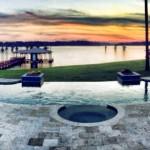 amazing sunset with pool